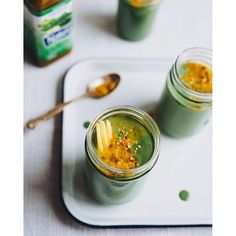 Raw Buckwheat Green Smoothie (to-go) Jars. Get this and 80+ more Vegan recipes at https://feedfeed.info/our-favorite-vegan-recipes