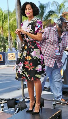 EXCLUSIVE: Tracee Ellis Ross arrives at Universal Studios Hollywood to make an appearance on Extra in Los Angeles