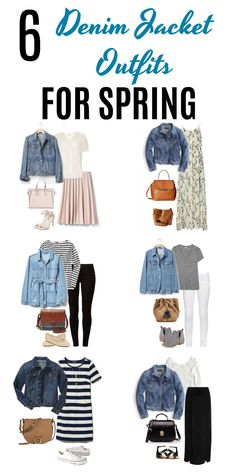 Whether it's for casual Fridays or a day out running errands these six denim jacket outfits for spring are perfect for the occasions. A denim jacket is such a versatile piece of clothing as you'll see from these super cute outfits. - April 13 2019 at Fashion Mode, Look Fashion, Spring Fashion, Womens Fashion, Fashion Clothes, Fashion Ideas, Jackets Fashion, Fashion Styles, Street Fashion