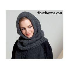 Snood à capuche tricoté en laine  Mia  de  Lang Yarns  (alpaga baby, acrylique).Catalogue  Lang Yarns - Collection FAM 199 .