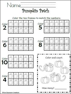 Free 10 Frames Math Worksheet - Kindergarten