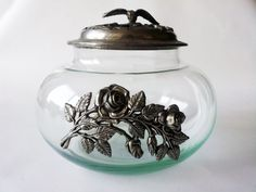 Vintage french GLASS and PEWTER JAR with roses