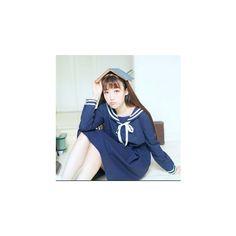 Sailor Collar Tie-Front Dress ($27) ❤ liked on Polyvore featuring dresses, women, blue sailor dress, sleeved dresses, blue cotton dress, collared dresses and blue sleeve dress