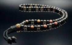 Men's Long Necklace Gemstone Beaded Necklace Jasper