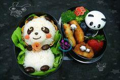 panda onigiri with rice and black beans