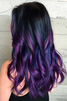 Black+Hair+With+Purple+Highlights vivid hair color, cool hair color, hair. Vivid Hair Color, Hair Color Purple, Hair Color For Black Hair, Cool Hair Color, Purple Black Hair, Burgundy Hair, White Hair, Purple Hair Styles, Blue Purple Hair