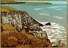"""Ramsey Sound"", 2007, linocut by Ian Phillips. http://www.reliefprint.co.uk/"