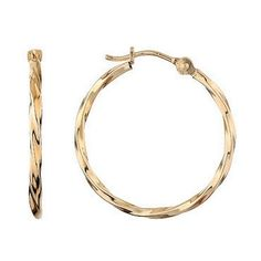 Yellow Gold Twist Hoop Earrings - Item 19071091 | REEDS Jewelers