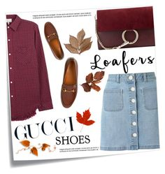 """""""gucci gal"""" by bellablondie ❤ liked on Polyvore featuring Post-It, Gucci, Chloé, Miss Selfridge, Current/Elliott, Bliss Studio, loafers, gucci, denimskirt and check"""
