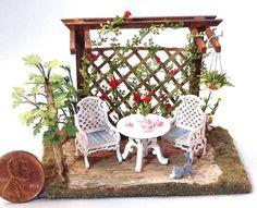 Quarter scale dollhouse miniature rose garden and tea party