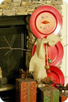 DIY snowman made from charger plates