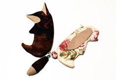 Fox Pencil Case Zipper Pouch Cute Make up bag por EVESAdesign