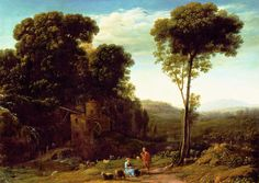 Animal Painting - Pastoral Landscape With A Mill by Claude Lorrain