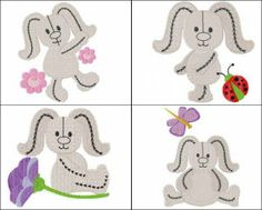 """""""Smiling Bunnies"""" these 8 stuffed animal-style bunnies, shown along  with flowers, ladybugs and more, are ready to hop onto your next project!"""