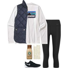 A fashion look from September 2015 featuring J.Crew vests, NIKE activewear pants and NIKE athletic shoes. Browse and shop related looks.