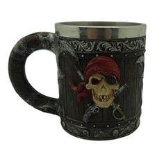 Pirat Krug Mit Piratenschädel Und Metalleinsatz 20cm
