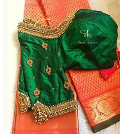 Weddings happen once in a lifetime and it is super special. We feel so loved to be designing bridal blouses and being a part of such… Simple Blouse Designs, Stylish Blouse Design, Silk Saree Blouse Designs, Bridal Blouse Designs, Blouse Neck Designs, Blouse Patterns, Blouse Styles, Blouse Designs Catalogue, Work Blouse