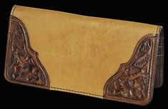Checkbook Covers -Scarred Russet with Tooled Croners