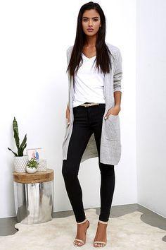 Obey Duster Grey Long Cardigan Sweater 8dde76d28
