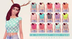 18 Polkadot Crop Tops18 polkadot crop tops in pretty vibrant colors. I just love polkadots, and since I love them I came up with these. They all came out so cute and pretty.-NOTE- These are not overrides. All have custom heart thumbnails. Download- | Dropbox | 18 Polkadot Crop TopsCC Used:Antlers by A3ruHair Edit by DaniparadiseJeans by InabadromanceBaby Hair by BrillitCredit: EA for the mesh.Sims 4 Studio for the tools.Please don't reupload or claim this as your own!♥