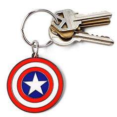 Captain America keeps the keys to his bike on this keychain. And the Helicarrier. Looks just like his shield.