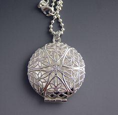 Sterling Silver Locket - Round Filigree Necklace