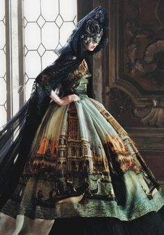 "I wish more lolita fashion dresses looked like this. Longer skirts are so elegant. Edie Campbell wears Dolce Gabbana Alta Moda as she stars in ""Cinderella Story"", in US Vogue September 2013, photographed by David Sims"