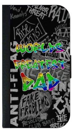 World's Greatest Dad- Colorful Grafitti Letters Punk Style Apple iPhone 7 PU Leather and Suede Wallet Style Phone Case Made in the USA. Quality Sturdy Wallet Phone Case with Magnetic Flap Closure and 3 Inner Pockets for Storage; Compatible with the Standard Apple iPhone 7 phone model (Not Compatible with the Apple iPhone 7 Plus/7+). Quick Processing and Shipping! Satisfaction Guaranteed!. Vibrant Flat Printed Design; No Textured/3d/Metallic Print. Rosie Parker's designs and images are...