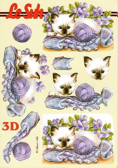 free decoupage sheets to print Laurel Burch, 3d Sheets, 3d Paper Crafts, Picture Postcards, 3d Cards, 3d Prints, Animal Cards, Card Maker, Diy Scrapbook