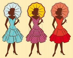 Vintage silhouette of girls with umbrella.