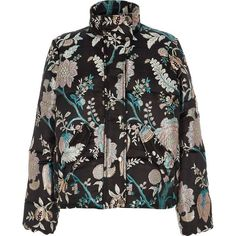 River Island Black floral jacquard puffer jacket (485 PEN) ❤ liked on Polyvore featuring outerwear, jackets, black, coats / jackets, women, funnel neck jacket, padded puffer jacket, floral jacket, snap jacket and puffer jacket
