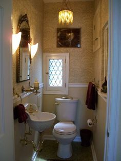 "Before Look at the 'before' photo of this 34"" x 63"" powder room! Can you believe it? This is one of those times when every inch really does count. Now, look at this little jewel in the after photo...."