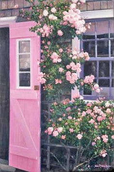 The Pink Door - Siasconset, Nantucket; want a pink door for my store Pretty In Pink, Pink Love, Perfect Pink, Hot Pink, Jardin Decor, Climbing Roses, Everything Pink, Porches, Favorite Color