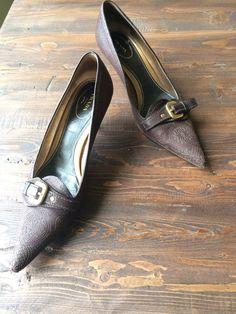 Womens PRADA Brown Leather Heels Buckled Pumps US Sz 8, Eu 38.5 RP $630 #PRADA #PumpsClassicsKittenHeel