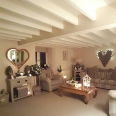 Country home...lounge Wicker heart...heart mirror...