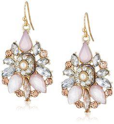 Blush Pink and Orange Crystal Drop Earrings