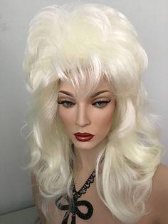 Shoulder Length, Drag Wig,Volume, Waves, Pale Blonde, Dark Rooted Brown, Copper, White Blonde