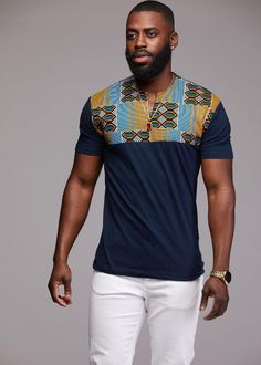 Tops - Dayo Men's African Print T-Shirt (Blue/Tan/Navy)