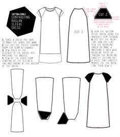 diy Contrasting raglan sleeve dress