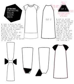 DIY Contrasting raglan sleeve dress | Cotton and Curls