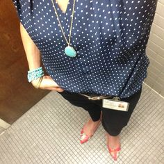 Dot top, black skinnies, red floral shoes, turquoise accents