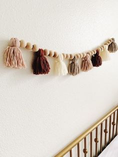 Handmade Boho Baby Nursery Tassel Garland With Beads Diy Tassel Garland, Beaded Garland, Tassels, Yarn Wall Hanging, Boho Diy, Macrame Patterns, Wooden Beads, Yarn Crafts, Crafty