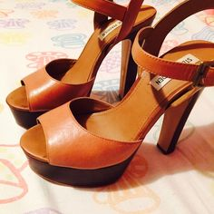Steve Madden Cognac Jillyy Heels!! Cognac, stacked heel Jillyy sandals from Steve Madden! Worn maybe three times but still in very great condition! Only damages are scratches along back of heels! Steve Madden Shoes Heels