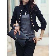 Stylish Stand-Up Collar Long Sleeve Double-Breasted Women's Blazer Blazers For Women, Suits For Women, Jackets For Women, Clothes For Women, Women Blazer, Ladies Blazers, Blazer E Short, Blazer And Shorts, Military Style Jackets
