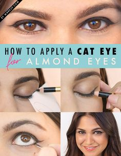 How to apply a cat-eye makeup look for almond eyes.