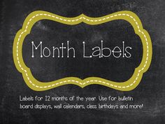 Month Labels (Chalkboard and Gold)
