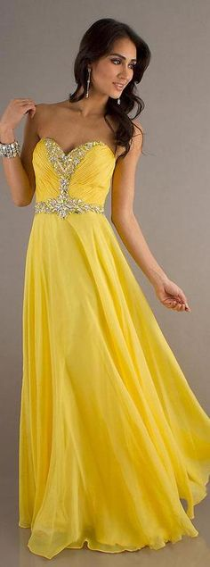 Cute Sweetheart Chiffon Long Yellow Sleeveless Evening Dress Sale lkxdresses13071vregr #promdress #longdress #fashion