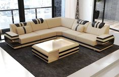 Modern Sectional Fabric Sofa San Antonio L Shape with LED – Sofa Design 2020 Sofa Set Designs, L Shaped Sofa Designs, Modern Sofa Designs, Corner Sofa Design, Living Room Sofa Design, Sofa For Living Room, Couch U Form, Designer Couch, Luxury Sofa