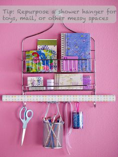 A shower rack for organizing craft supplies? Or maybe even for organizing make up and necklaces in a bathroom? A shower rack for organizing craft supplies? Organisation Hacks, Organizing Hacks, Studio Organization, Bedroom Organization, Organising, Bedroom Storage, Storage Organization, Organization Skills, Creative Storage
