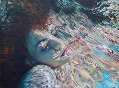 girls face coming out of the water painting Hyper Realistic Paintings, Ghost In The Machine, Underwater Art, Floating In Water, Hyperrealism, Pop Surrealism, Black And White Portraits, Woman Face, Figurative Art